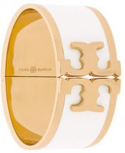 Tory Burch - enamelled raised-logo wide bracelet - women - Brass - OS - WHITE