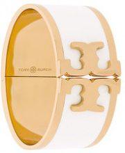 Tory Burch - enamelled raised-logo wide bracelet - women - Brass - OS - Bianco