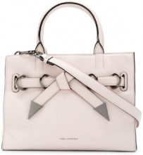 Karl Lagerfeld - Rocky Bow small shopper tote - women - Leather - One Size - PINK & PURPLE