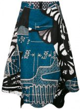 Comme Des Garçons - Gonna denim a ruota con motivo cartoon - women - Polyester - XS, S, M, L - BLUE