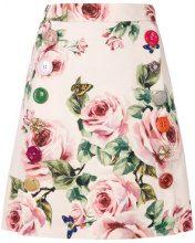 Dolce & Gabbana - rose print A-line skirt - women - Silk/Cotton/Polyester/Wool - 40 - PINK & PURPLE