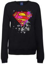 DC Comic - Dc Comics Official Superman Splatter Logo Womens Sweatshirt, Felpa da donna, nero (Schwarz - Schwarz), Taglia produttore: 40