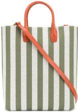 Mansur Gavriel - Borsa tote rigata - women - Cotton/Leather - OS - GREEN
