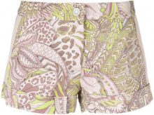Just Cavalli - Shorts con stampa floreale - women - Cotton/Spandex/Elastane/Acetate/Viscose - 40, 42, 44 - PINK & PURPLE