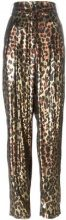 Lanvin - metallic leopard trousers - women - Silk/Polyester - 40 - BROWN