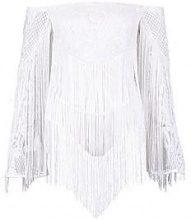 Premium Linda Off The Shoulder Tassle Bodysuit