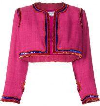 Yves Saint Laurent Vintage - sequin-embellished bolero - women - Silk/Linen/Flax - 38 - PINK & PURPLE
