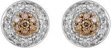 Jewelili Donna  925  argento Rotonda   marrone Diamante