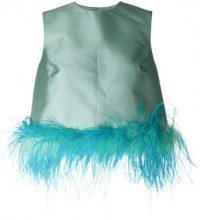Prada - Top senza maniche con piume - women - Silk/Cupro/Wool/Ostrich Feather - 42, 44 - BLUE