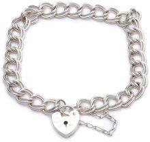 Adara-Bracciale a catena con lucchetto, piatte in argento, lunghezza 18 cm