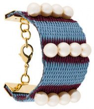 Marni - Bracciale rigido intrecciato con perline - women - Canvas/Pearls - One Size - Blu