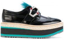 Prada - Brogues con suola rialzata - women - Leather/rubber - 38.5, 39, 40, 38 - BLACK