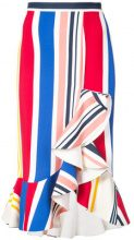 Semsem - striped ruffle skirt - women - Viscose/Spandex/Elastane - 38 - WHITE