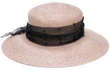 Misa Harada - embellished panama hat - women - Straw - OS - NUDE & NEUTRALS