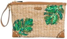 Michael Michael Kors - foliage embroidered clutch - women - Straw - OS - BROWN