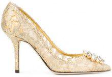 Dolce & Gabbana - Pumps 'Bellucci' - women - Cotton/Leather/Crystal - 36, 36,5, 37, 38, 38,5, 39, 40, 35, 35,5, 37,5 - NUDE & NEUTRALS