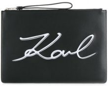 Karl Lagerfeld - front logo printed clutch bag - women - Leather - One Size - BLACK