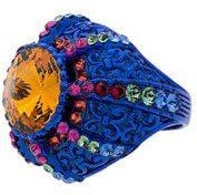 Gucci - Anello con sigillo 'Blue Crystal Pincushion' - women - Crystal/metal - S, M - BLUE