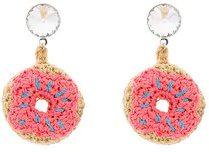 - Venessa Arizaga - Orecchini - women - Crystal/cotone/ottone placcato in argento - Taglia Unica - di colore rosa