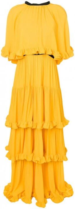 e22a08c55af4 MSGM - Vestito lungo con ruches - women - fibra sintetica - 40