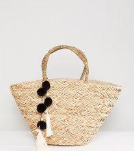 South Beach - Borsa da spiaggia in paglia con pompon nero e bianco - Beige