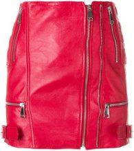 Manokhi - zipped mini skirt - women - Leather/Viscose/Polyester - XS, S, M, L - RED