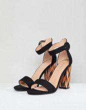 Glamorous - Sandali con tacco largo a blocchi di colore neri - Nero