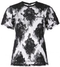 Fleur Du Mal - floral lace T-shirt - women - Wool/Cotton - XS, S, M, L - BLACK
