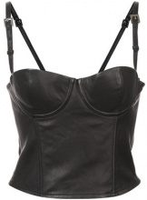 Fleur Du Mal - fitted bustier top - women - Lamb Skin - S, L - BLACK
