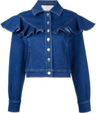 Sara Battaglia - ruffled denim jacket - women - Cotone/Polyester/Spandex/Elastane - 40, 46 - Blu