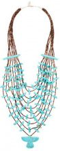 Jessie Western - large beaded eagle necklace - women - Pietra/glass - OS - BLUE