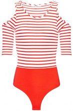 FIND Cold Shoulder T-Shirt Donna, Rosso (Sport Red/White Stripe), 42 (Taglia Produttore: Small)