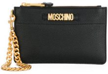 Moschino - logo plaque clutch bag - women - Leather - OS - BLACK