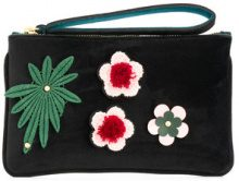 Alila - Borsa clutch con fiore applicato - women - Neoprene/Velvet - OS - BLACK