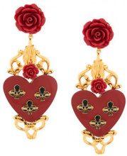 Dolce & Gabbana - Orecchini con pendente con rosa e cuore - women - Resin/Brass - One Size - RED