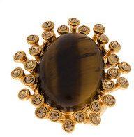 Oscar de la Renta - tiger eye stone ring - women - Resin/Brass/Pewter - OS - BROWN