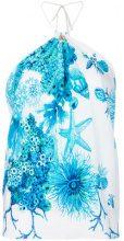 Roberto Cavalli - underwater print halter neck top - women - Silk - 42 - BLUE