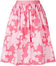 Emporio Armani - gathered floral-print skirt - women - Cotton/Spandex/Elastane - 40, 44 - PINK & PURPLE
