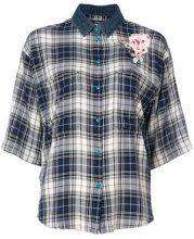 - Diesel - Camicia a scacchi ricamata - women - fibra sintetica/cotone - M, S - di colore blu