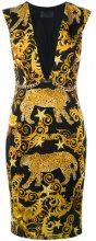 Philipp Plein - baroque plunge neck shift dress - women - Polyamide/Spandex/Elastane/Cupro - S, M - BLACK