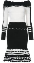 Yigal Azrouel - striped knit dress - women - Nylon/Spandex/Elastane/Rayon - XS, M, L, XL, S - BLACK