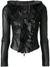 Frankie Morello - Giacca con ruches - women - Leather/Cotton - 38, 40, 42 - BLACK