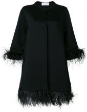 Gianluca Capannolo - Mantella con piume - women - Wool/Acrylic/Polyamide/Ostrich Feather - 40, 42, 44 - BLACK