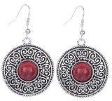 Yazilind Vintage in argento tibetano, in resina, colore: rosso, con orecchini con pendenti a goccia