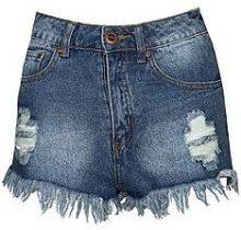 Blair pantaloncini di Jeans stone wash a vita alta con strappi