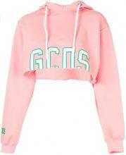 - Gcds - Felpa crop con cappuccio - women - cotone - S - di colore rosa