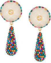 Gucci - crystal pendant earrings - women - Crystal/Resin/Brass - OS - WHITE