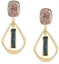 Isabel Marant - Orecchini pendenti con pietra rettangolare - women - Tin/ceramic/Brass - OS - Metallizzato