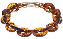 Karen Millen-Bracciale a maglie ovali grandi, in resina, lunghezza 61 cm, colore: marrone