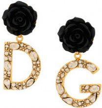 Dolce & Gabbana - Orecchini con pendente DG - women - Crystal/Brass/Resin - OS - METALLIC